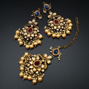 Amay Multicolour Faux Polki & Pearl Necklace Set - Antique Gold