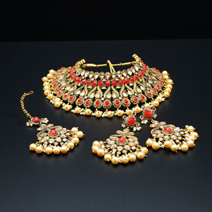 Amay Red Faux Polki & Pearl Necklace Set - Antique Gold
