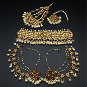 Taksh Gold Kundan/White Pearl Choker Set - Antique Gold