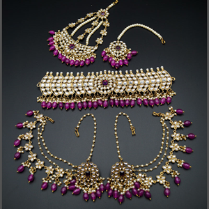 Taksh White Kundan/ Purple Beads Choker Set - Antique Gold