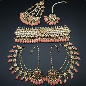 Taksh White Kundan/ Peach Choker Set - Antique Gold