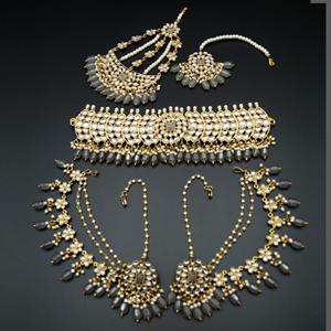 Taksh White Kundan/ Grey Choker Set - Antique Gold