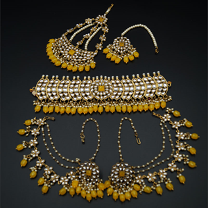 Taksh White Kundan/ Yellow Choker Set - Antique Gold