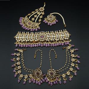 Taksh White Kundan/ Lilac Choker Set - Antique Gold
