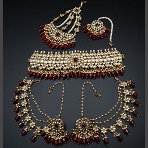 Taksh White Kundan/ Maroon Choker Set - Antique Gold