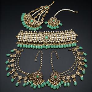 Taksh White Kundan/ Mint Choker Set - Antique Gold
