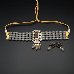 Madri  Grey Kundan /Beads Choker Necklace Set - Gun Metal