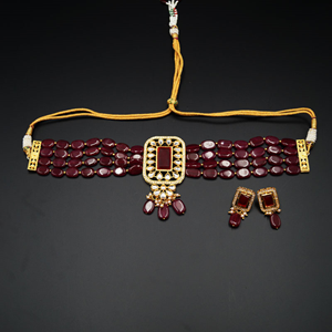 Madri Maroon Kundan /Beads Choker Necklace Set - Gun Metal