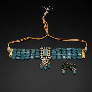 Madri Light Blue Kundan /Beads Choker Necklace Set - Gun Metal