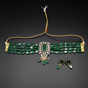 Madri  Green Kundan /Beads Choker Necklace Set - Gun Metal