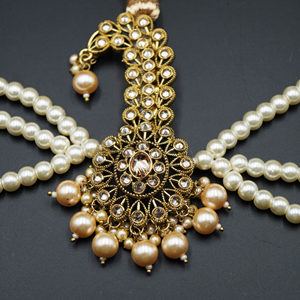 Maha Gold Polki Stone Kalgi - Antique Gold