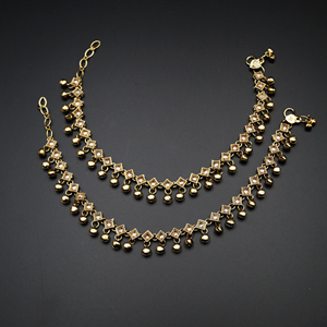Hadil- Gold Polki Ghungroo Payals -Antique Gold