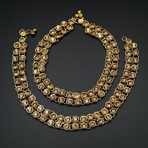 Labh- Gold Diamante Payals - Gold