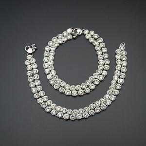 Labh-White Diamante Payals - Silver