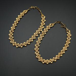 Feba Gold Diamante Payals - Antique Gold