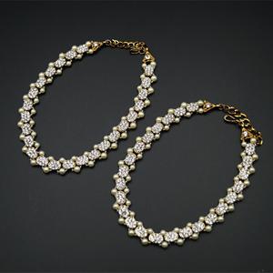 Feba White Diamante Payals - Antique Gold