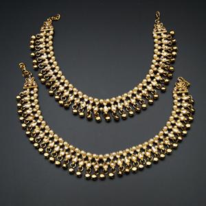 Raxa Gold Polki Stone Ghungroo Payals - Antique Gold