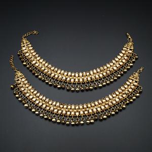 Rewti Gold Polki Stone Ghungroo Payals - Antique Gold