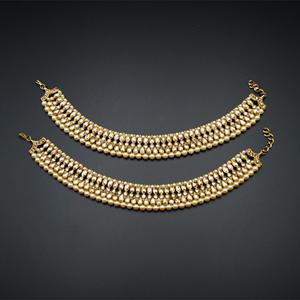Tristi Gold Polki Stone Payals - Antique Gold
