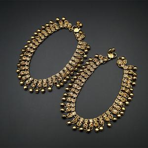 Shera Gold Diamante Ghungroo Payals - Antique Gold