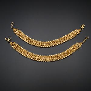 Miya Gold Diamante Payals - Gold
