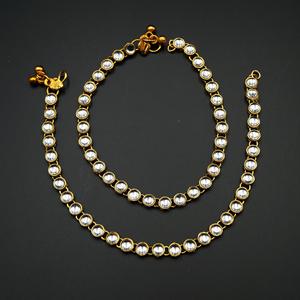 Leora White Kundan Payals - Gold
