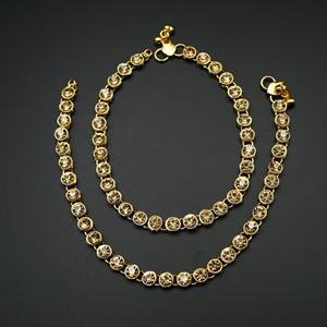 Bisa Gold Diamante Payals - Gold