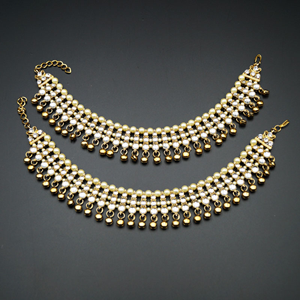 Raha White Kundan Ghungroo Payals - Antique Gold
