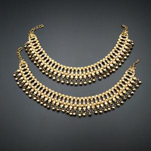 Laju Gold Polki Stone Ghungroo Payals - Antique Gold
