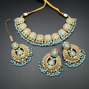 Keli Gold/Light Blue Polki Stone Necklace Set - AntiqueGold