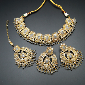 Keli Gold/Grey Polki Stone Necklace Set - Antique Gold