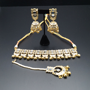 Dru -Silver Mirror /Gold Beads Choker Necklace  Set - Antique Gold