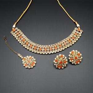 Turvi Gold/Orange Stone Polki Stone Necklace Set - Antique Gold