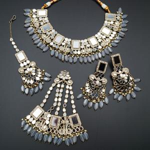 Warhi White Mirror/ Grey Stone Necklace  Set - Antique Gold
