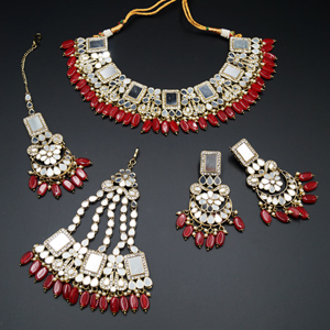 Warhi White Mirror/ Red Beads Necklace  Set - Antique Gold
