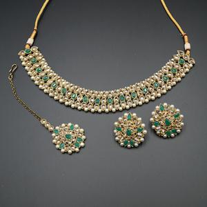 Turvi Gold/ Pista Polki Stone Necklace Set - AntiqueGold