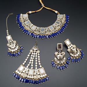 Warhi White Mirror/ Blue Beads Necklace  Set - Antique Gold