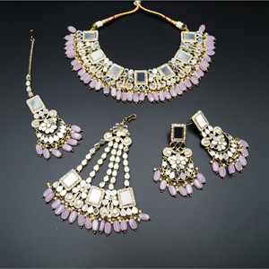 Warhi White Mirror/ Lilac Beads Necklace  Set - Antique Gold