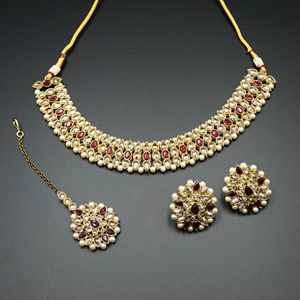 Turvi Gold/Maroon Stone Polki Stone Necklace Set - AntiqueGold