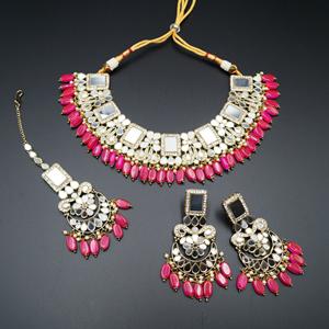 Warhi White Mirror/ Hot Pink Beads Necklace  Set - Antique Gold
