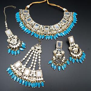 Warhi White Mirror/ Torquoise Beads Necklace  Set - Antique Gold
