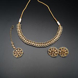 Banu Gold Polki/Grey Necklace Set - Antique Gold