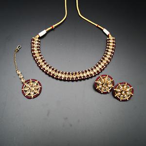 Banu Gold Polki/Maroon Necklace Set - Antique Gold