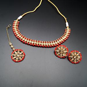 Banu Gold Polki/Red Necklace Set - Antique Gold
