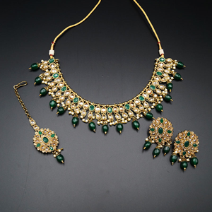 Saira Gold/Green Polki Stone Necklace Set - AntiqueGold