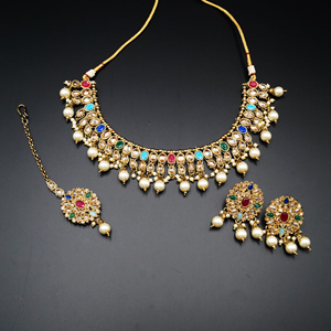 Saira Gold/Multicolour Polki Stone Necklace Set - AntiqueGold