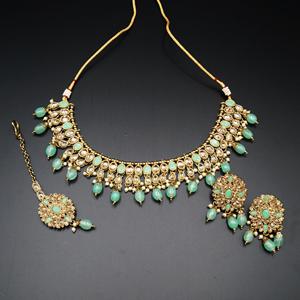 Saira Gold/Pista Polki Stone Necklace Set - AntiqueGold