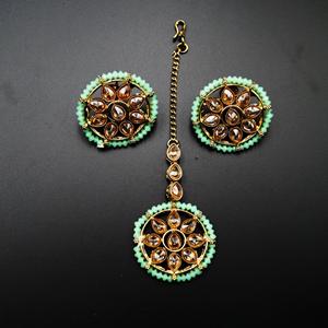 Banu Gold Polki/Pista Necklace Set - Antique Gold