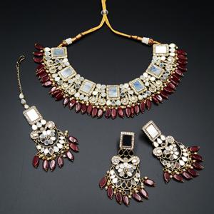 Warhi White Mirror/ Maroon Beads Necklace Set - Antique Gold