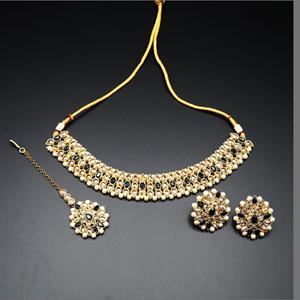 Turvi Gold/ Black Polki Stone Necklace Set - AntiqueGold
